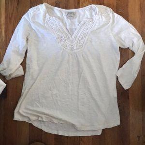 Lucky Brand 3/4 Length White Cotton Top